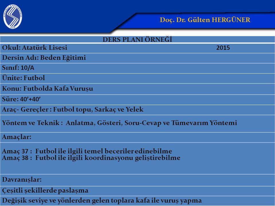 DERS PLANI ÖRNEĞİ Okul: Atatürk Lisesi 2015 Dersin Adı: Beden Eğitimi Sınıf: 10/A Ünite: Futbol Konu: Futbolda Kafa Vuruşu Süre: 40'+40' Araç- Gereçle