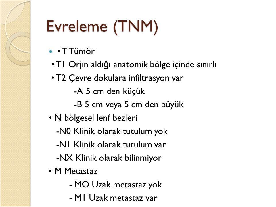 Evreleme (TNM) T Tümör T1 Orjin aldı ğ ı anatomik bölge içinde sınırlı T2 Çevre dokulara infiltrasyon var -A 5 cm den küçük -B 5 cm veya 5 cm den büyük N bölgesel lenf bezleri -N0 Klinik olarak tutulum yok -N1 Klinik olarak tutulum var -NX Klinik olarak bilinmiyor M Metastaz - MO Uzak metastaz yok - M1 Uzak metastaz var