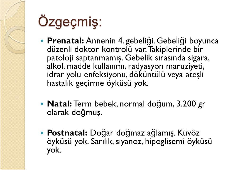 Özgeçmiş: Prenatal: Annenin 4. gebeli ğ i. Gebeli ğ i boyunca düzenli doktor kontrolü var.