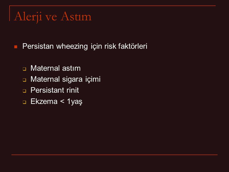 Alerji ve Astım Persistan wheezing için risk faktörleri  Maternal astım  Maternal sigara içimi  Persistant rinit  Ekzema < 1yaş