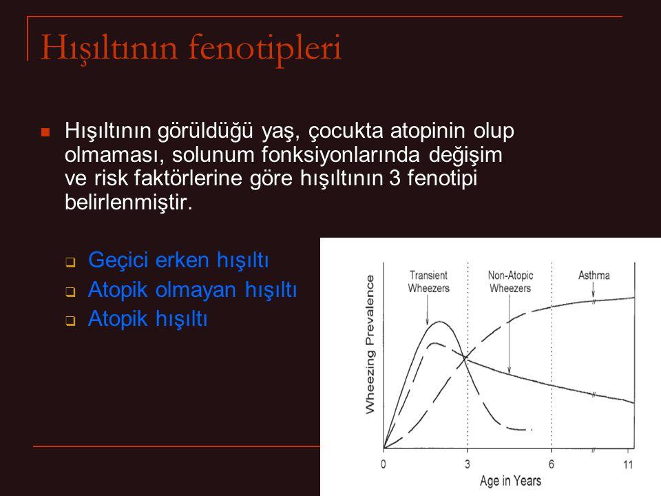Hışıltının fenotipleri Hışıltının görüldüğü yaş, çocukta atopinin olup olmaması, solunum fonksiyonlarında değişim ve risk faktörlerine göre hışıltının 3 fenotipi belirlenmiştir.