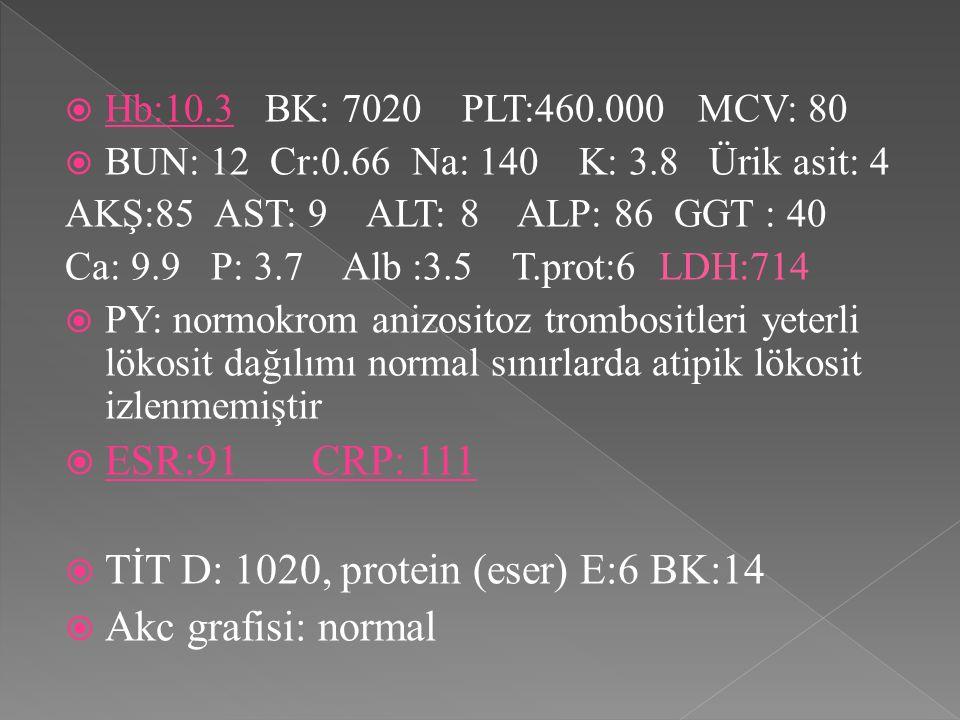  Hb:10.3 BK: 7020 PLT:460.000 MCV: 80  BUN: 12 Cr:0.66 Na: 140 K: 3.8 Ürik asit: 4 AKŞ:85 AST: 9 ALT: 8 ALP: 86 GGT : 40 Ca: 9.9 P: 3.7 Alb :3.5 T.prot:6 LDH:714  PY: normokrom anizositoz trombositleri yeterli lökosit dağılımı normal sınırlarda atipik lökosit izlenmemiştir  ESR:91 CRP: 111  TİT D: 1020, protein (eser) E:6 BK:14  Akc grafisi: normal
