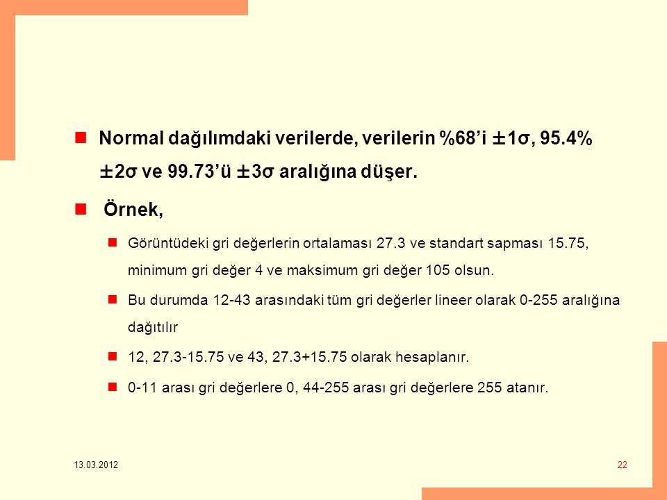 13.03.2012 22 Normal dağılımdaki verilerde, verilerin %68'i ±1σ, 95.4% ±2σ ve 99.73'ü ±3σ aralığına düşer.