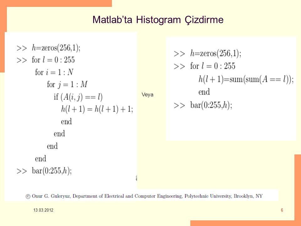 Matlab'ta Histogram Çizdirme 13.03.2012 6 Veya