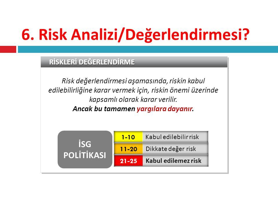 RİSKLERİ DEĞERLENDİRME Risk değerlendirmesi aşamasında, riskin kabul edilebilirliğine karar vermek için, riskin önemi üzerinde kapsamlı olarak karar v