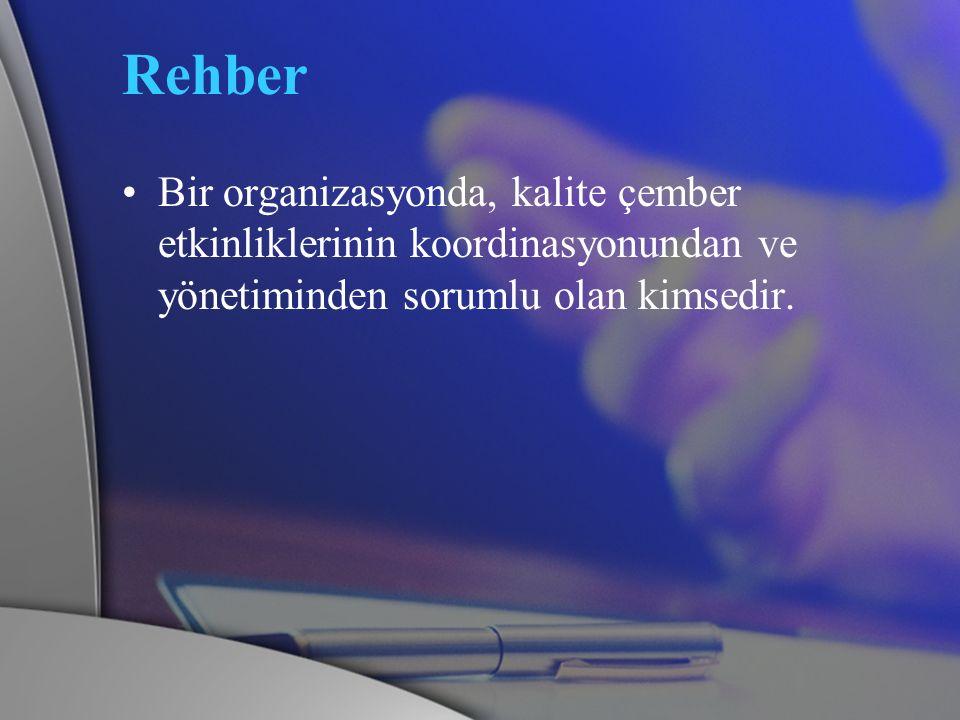 Rehber Bir organizasyonda, kalite çember etkinliklerinin koordinasyonundan ve yönetiminden sorumlu olan kimsedir.