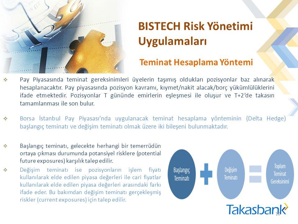 BISTECH Risk Yönetimi Uygulamaları  Pay Piyasasında teminat gereksinimleri üyelerin taşımış oldukları pozisyonlar baz alınarak hesaplanacaktır.
