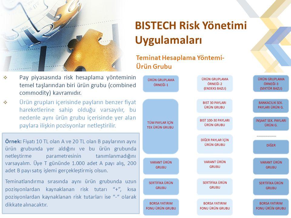 BISTECH Risk Yönetimi Uygulamaları  Pay piyasasında risk hesaplama yönteminin temel taşlarından biri ürün grubu (combined commodity) kavramıdır.