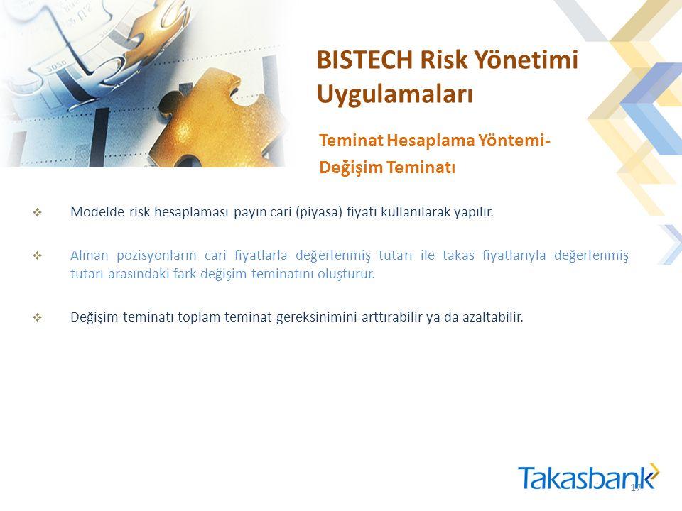 BISTECH Risk Yönetimi Uygulamaları  Modelde risk hesaplaması payın cari (piyasa) fiyatı kullanılarak yapılır.