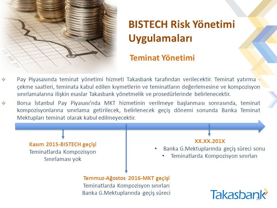 BISTECH Risk Yönetimi Uygulamaları  Pay Piyasasında teminat yönetimi hizmeti Takasbank tarafından verilecektir.