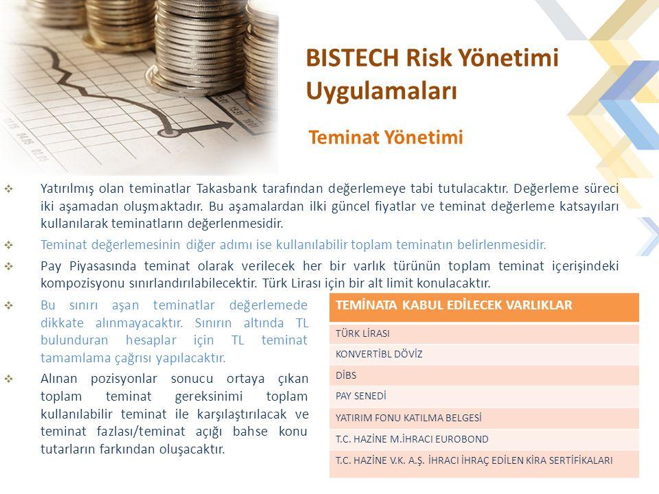 BISTECH Risk Yönetimi Uygulamaları  Yatırılmış olan teminatlar Takasbank tarafından değerlemeye tabi tutulacaktır.