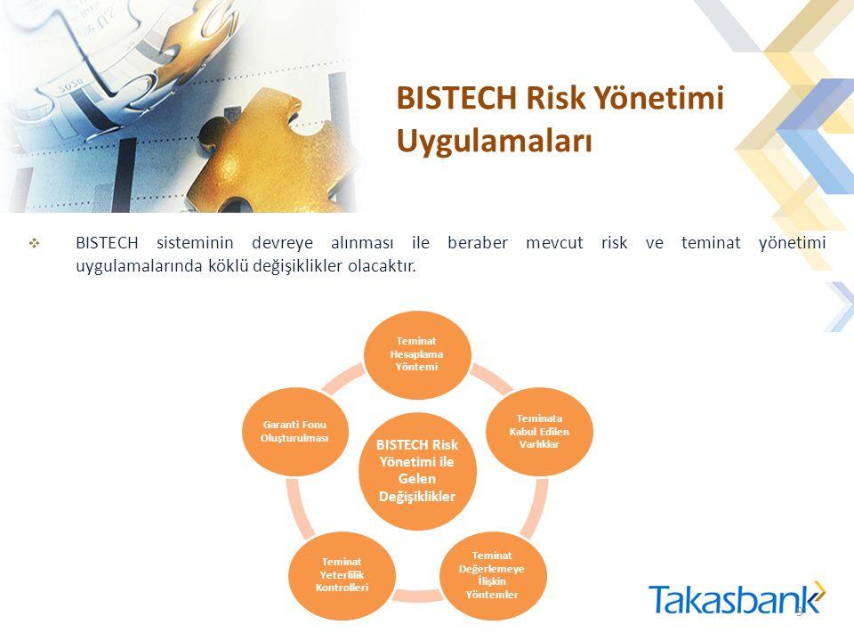 BISTECH Risk Yönetimi Uygulamaları  BISTECH sisteminin devreye alınması ile beraber mevcut risk ve teminat yönetimi uygulamalarında köklü değişiklikler olacaktır.