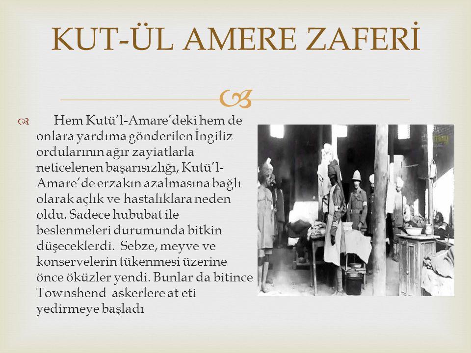   Hem Kutü'l-Amare'deki hem de onlara yardıma gönderilen İngiliz ordularının ağır zayiatlarla neticelenen başarısızlığı, Kutü'l- Amare'de erzakın azalmasına bağlı olarak açlık ve hastalıklara neden oldu.