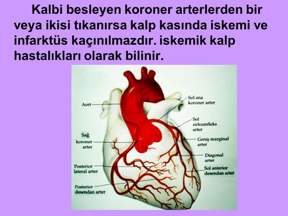Kalbi besleyen koroner arterlerden bir veya ikisi tıkanırsa kalp kasında iskemi ve infarktüs kaçınılmazdır.