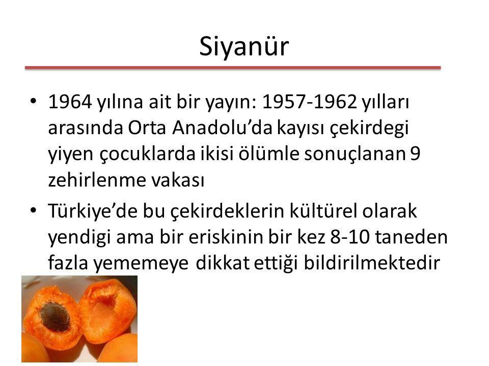 Siyanür 1964 yılına ait bir yayın: 1957-1962 yılları arasında Orta Anadolu'da kayısı çekirdegi yiyen çocuklarda ikisi ölümle sonuçlanan 9 zehirlenme vakası Türkiye'de bu çekirdeklerin kültürel olarak yendigi ama bir eriskinin bir kez 8-10 taneden fazla yememeye dikkat ettiği bildirilmektedir