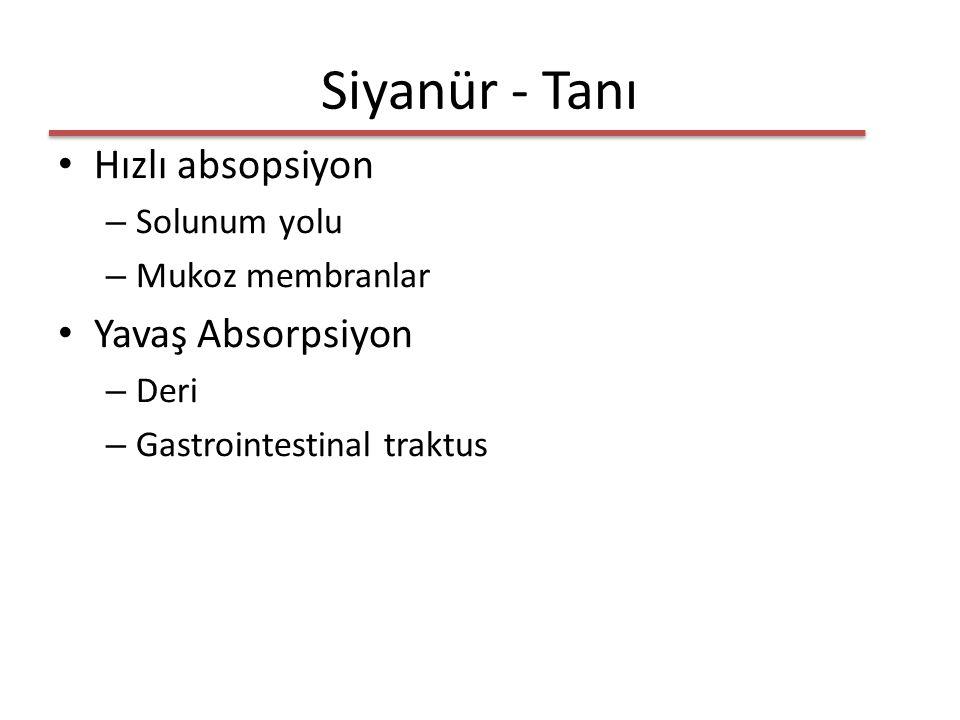 Siyanür - Tanı Hızlı absopsiyon – Solunum yolu – Mukoz membranlar Yavaş Absorpsiyon – Deri – Gastrointestinal traktus