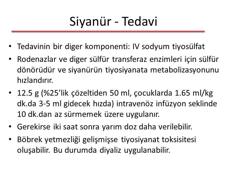 Siyanür - Tedavi Tedavinin bir diger komponenti: IV sodyum tiyosülfat Rodenazlar ve diger sülfür transferaz enzimleri için sülfür dönörüdür ve siyanürün tiyosiyanata metabolizasyonunu hızlandırır.