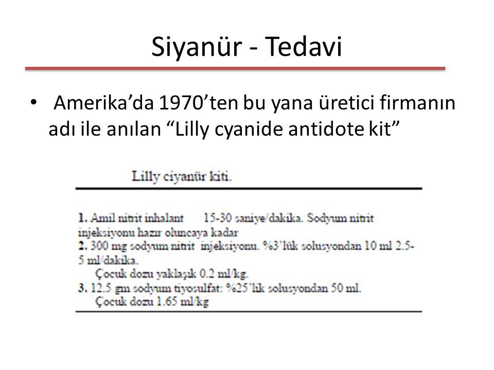 Siyanür - Tedavi Amerika'da 1970'ten bu yana üretici firmanın adı ile anılan Lilly cyanide antidote kit