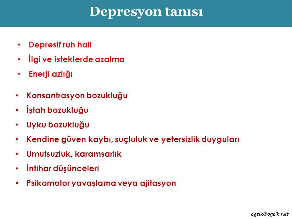 Ayrıca… Hemen hemen her gün ve yaklaşık gün boyu En az 15 gündür Psikososyal işlevlerde bozulma