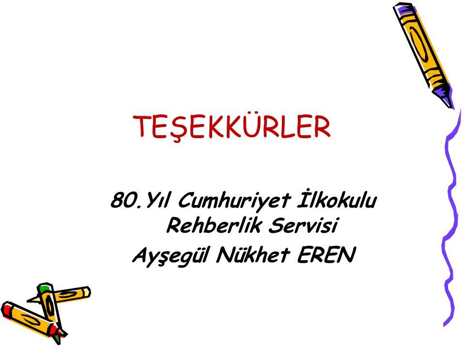 TEŞEKKÜRLER 80.Yıl Cumhuriyet İlkokulu Rehberlik Servisi Ayşegül Nükhet EREN
