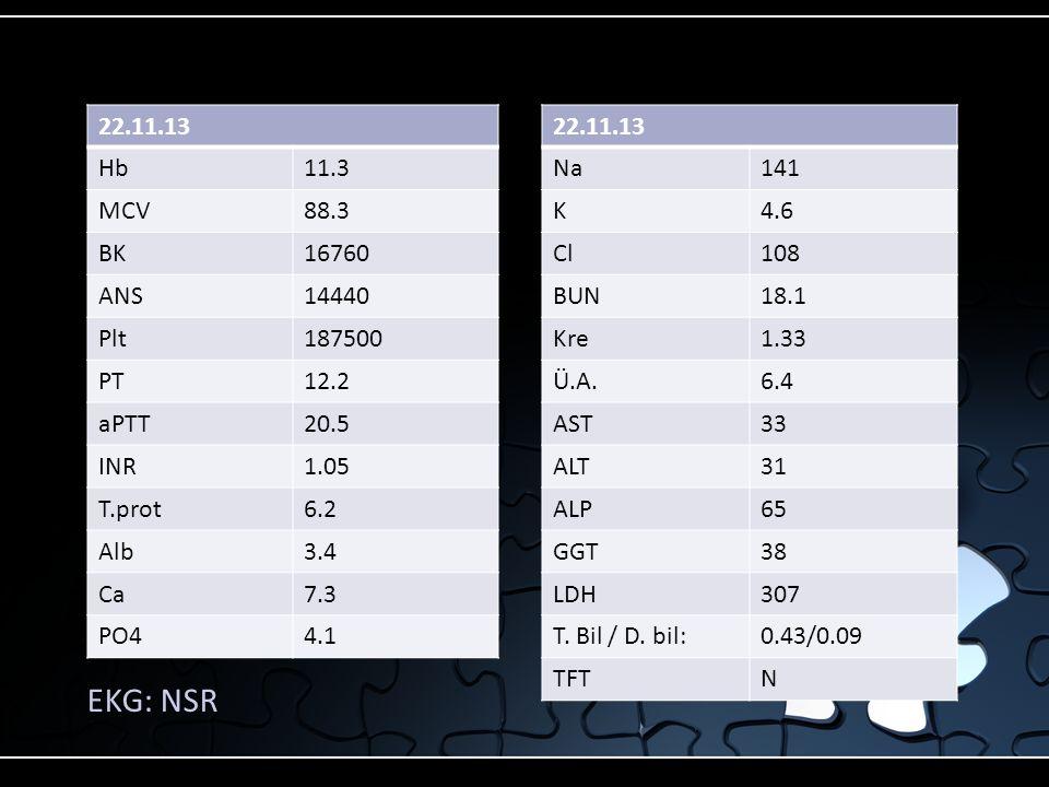 22.11.13 Hb11.3 MCV88.3 BK16760 ANS14440 Plt187500 PT12.2 aPTT20.5 INR1.05 T.prot6.2 Alb3.4 Ca7.3 PO44.1 EKG: NSR 22.11.13 Na141 K4.6 Cl108 BUN18.1 Kr
