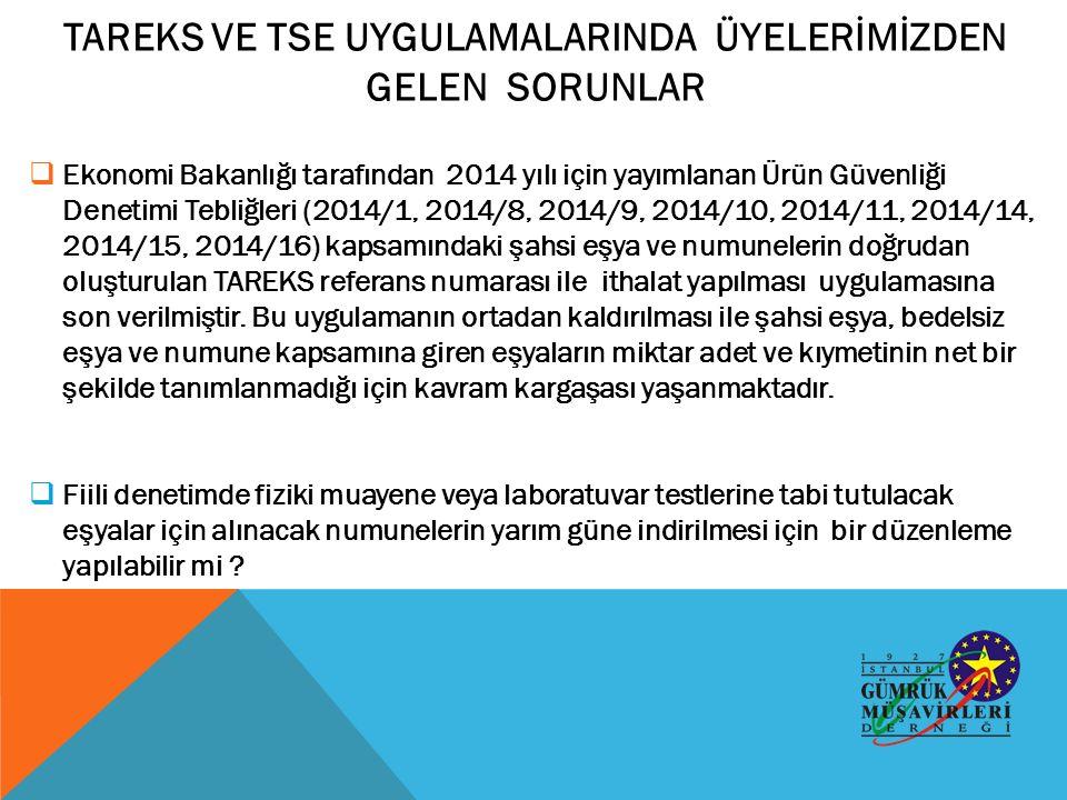  Ekonomi Bakanlığı tarafından 2014 yılı için yayımlanan Ürün Güvenliği Denetimi Tebliğleri (2014/1, 2014/8, 2014/9, 2014/10, 2014/11, 2014/14, 2014/15, 2014/16) kapsamındaki şahsi eşya ve numunelerin doğrudan oluşturulan TAREKS referans numarası ile ithalat yapılması uygulamasına son verilmiştir.