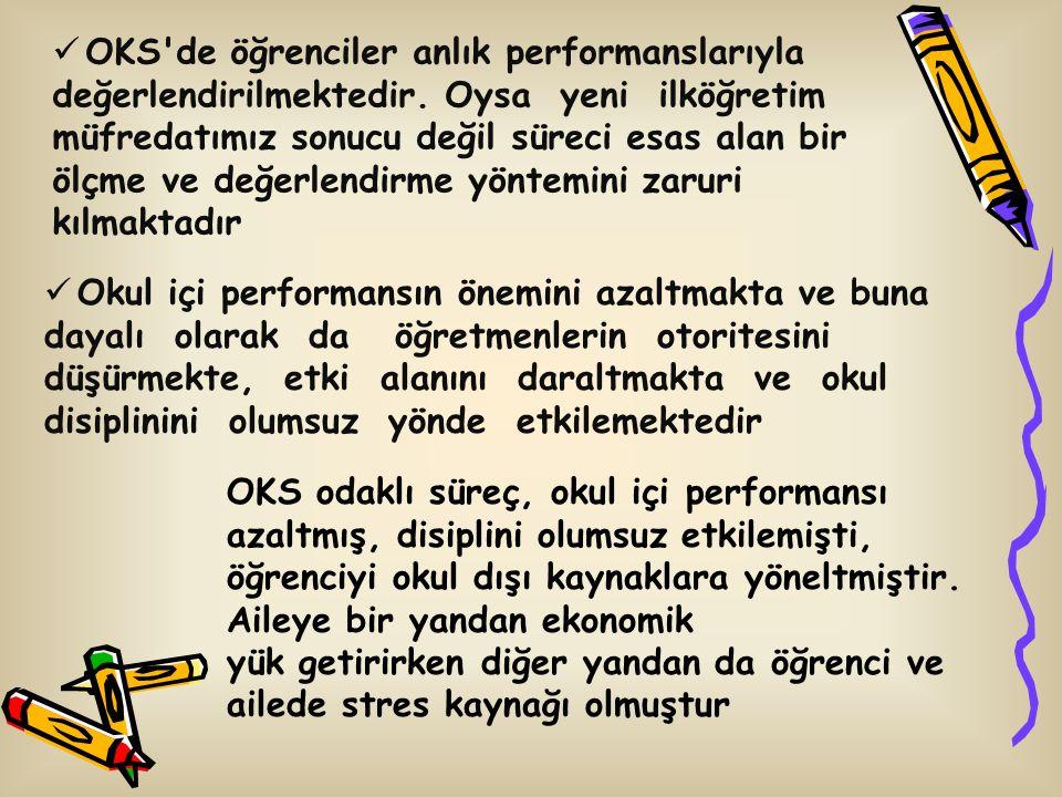 OKS de öğrenciler anlık performanslarıyla değerlendirilmektedir.