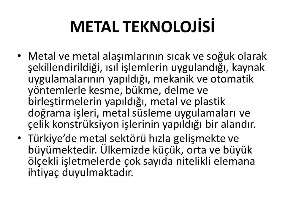 METAL TEKNOLOJİSİ Metal ve metal alaşımlarının sıcak ve soğuk olarak şekillendirildiği, ısıl işlemlerin uygulandığı, kaynak uygulamalarının yapıldığı, mekanik ve otomatik yöntemlerle kesme, bükme, delme ve birleştirmelerin yapıldığı, metal ve plastik doğrama işleri, metal süsleme uygulamaları ve çelik konstrüksiyon işlerinin yapıldığı bir alandır.