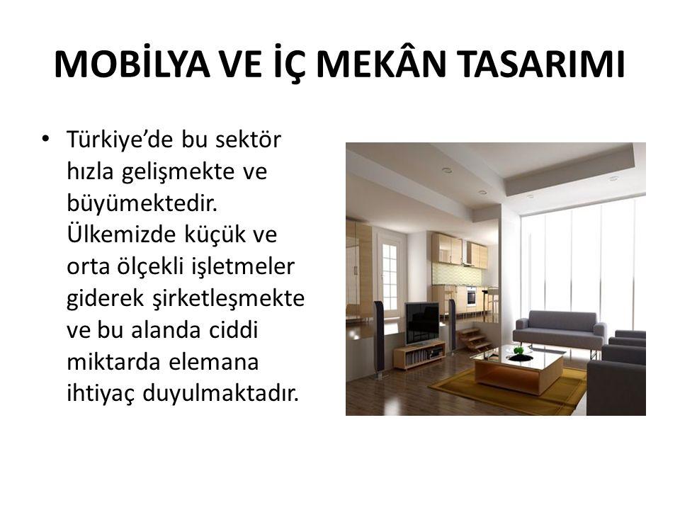 MOBİLYA VE İÇ MEKÂN TASARIMI Türkiye'de bu sektör hızla gelişmekte ve büyümektedir.