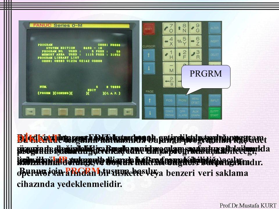 PRGRM Mode anahtarını EDIT konumuna getirdikten sonra program üzerinde değişiklik yapmak yeni program açmak yada silmek için ilk önce yukarıda ki menü (Program Kitaplığı)açılır.