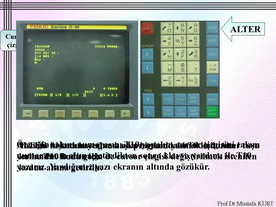 Cursor çizgisi Yazılan bi kodun yerine başka bir kod yazmak için Alter tuşu kullanılır.