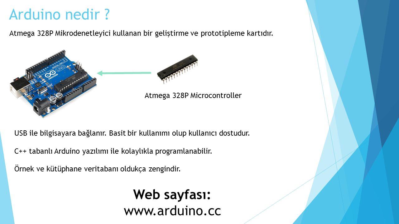 Arduino nedir . Atmega 328P Microcontroller USB ile bilgisayara bağlanır.