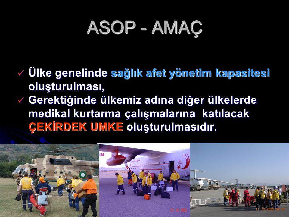 ASOP - AMAÇ Ülke genelinde sağlık afet yönetim kapasitesi oluşturulması, Ülke genelinde sağlık afet yönetim kapasitesi oluşturulması, Gerektiğinde ülk