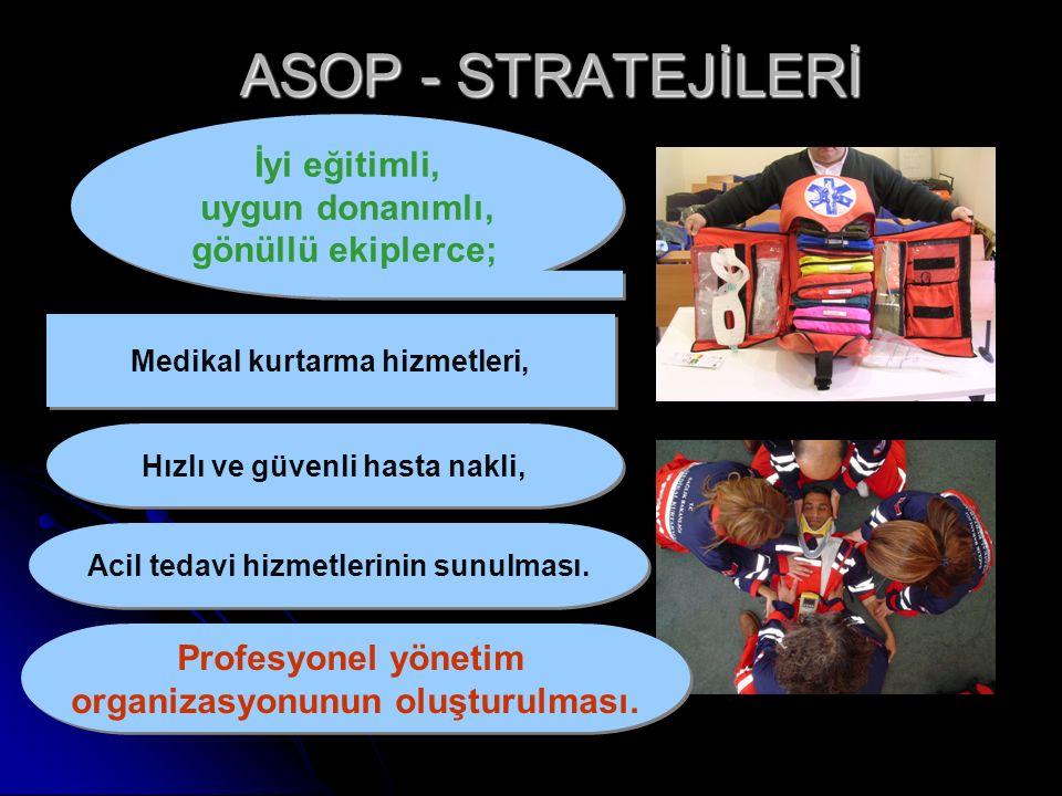 ASOP - STRATEJİLERİ İyi eğitimli, uygun donanımlı, gönüllü ekiplerce; İyi eğitimli, uygun donanımlı, gönüllü ekiplerce; Medikal kurtarma hizmetleri, Hızlı ve güvenli hasta nakli, Acil tedavi hizmetlerinin sunulması.
