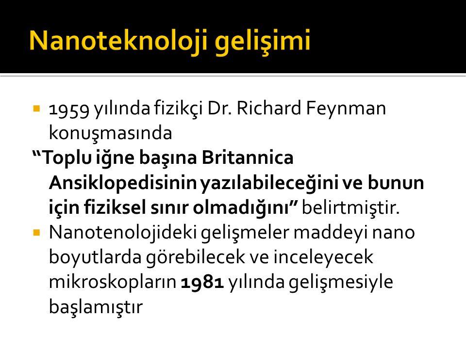 """ 1959 yılında fizikçi Dr. Richard Feynman konuşmasında """"Toplu iğne başına Britannica Ansiklopedisinin yazılabileceğini ve bunun için fiziksel sınır o"""