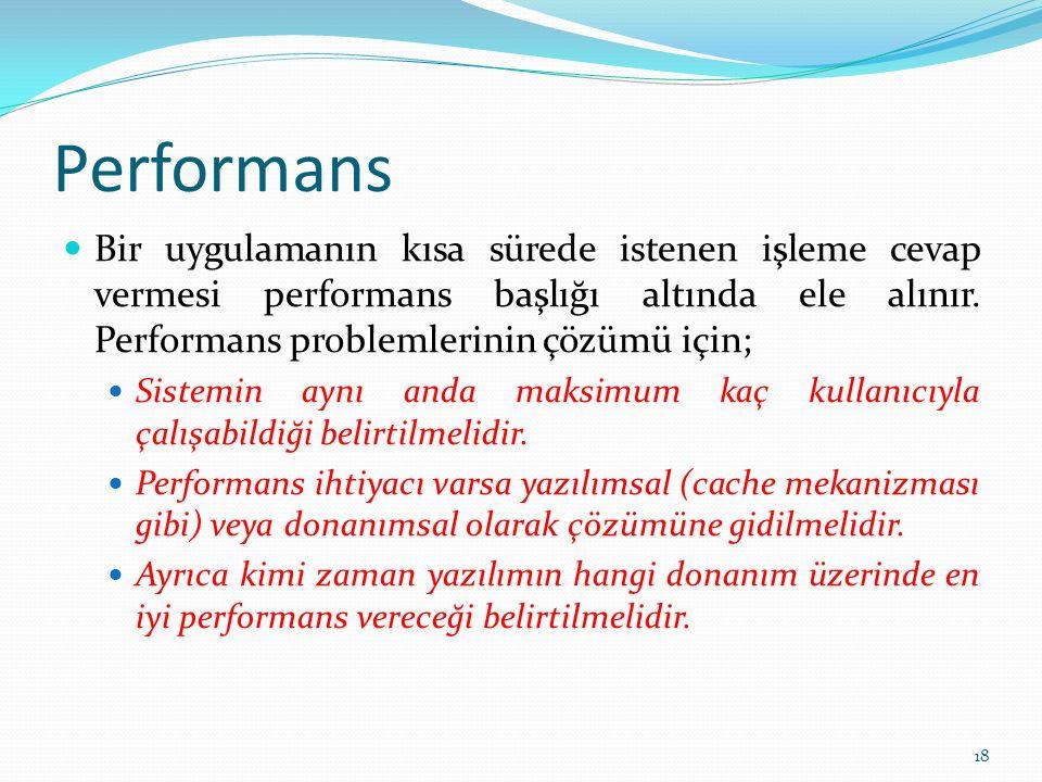 Performans Bir uygulamanın kısa sürede istenen işleme cevap vermesi performans başlığı altında ele alınır. Performans problemlerinin çözümü için; Sist