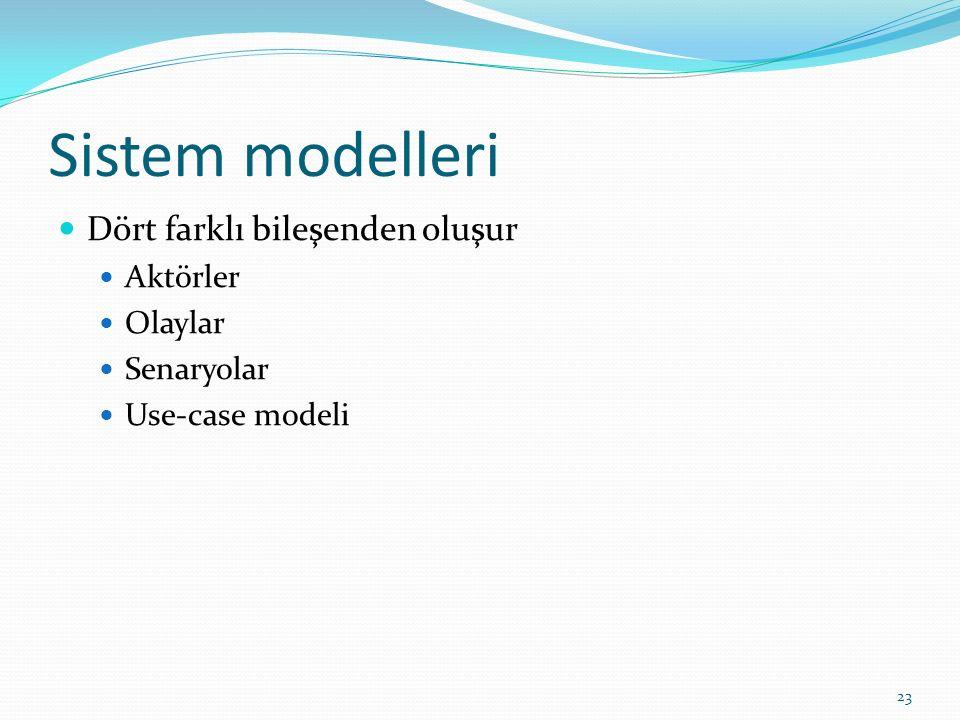 Sistem modelleri Dört farklı bileşenden oluşur Aktörler Olaylar Senaryolar Use-case modeli 23