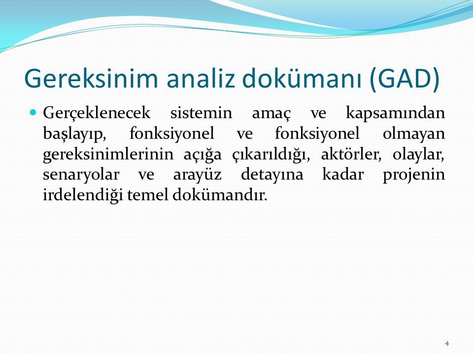Gereksinim analiz dokümanı (GAD) Gerçeklenecek sistemin amaç ve kapsamından başlayıp, fonksiyonel ve fonksiyonel olmayan gereksinimlerinin açığa çıkarıldığı, aktörler, olaylar, senaryolar ve arayüz detayına kadar projenin irdelendiği temel dokümandır.