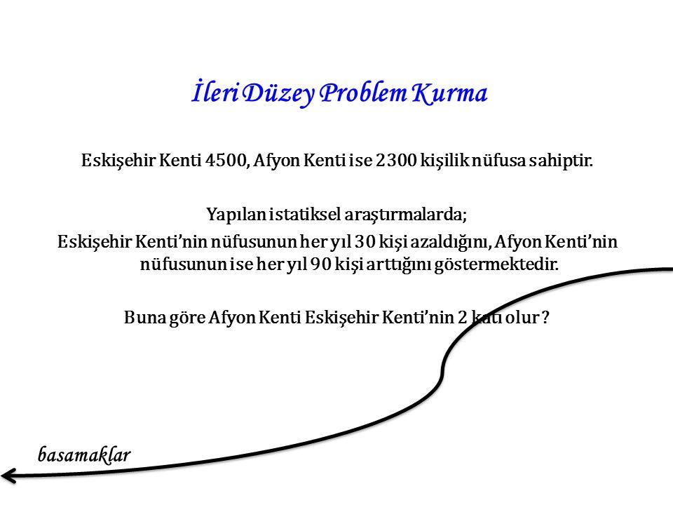 İleri Düzey Problem Kurma Eskişehir Kenti 4500, Afyon Kenti ise 2300 kişilik nüfusa sahiptir.