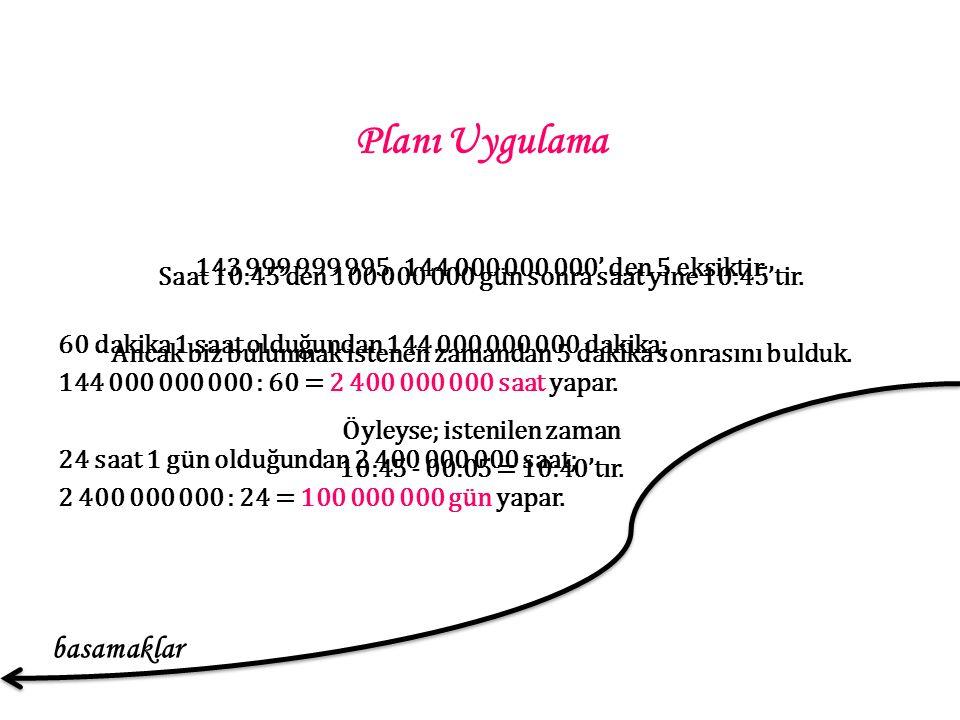 Planı Uygulama 143 999 999 995, 144 000 000 000' den 5 eksiktir.