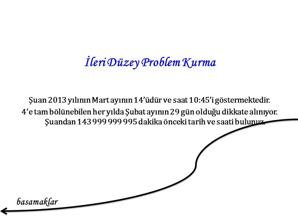 İleri Düzey Problem Kurma Şuan 2013 yılının Mart ayının 14'üdür ve saat 10:45'i göstermektedir.