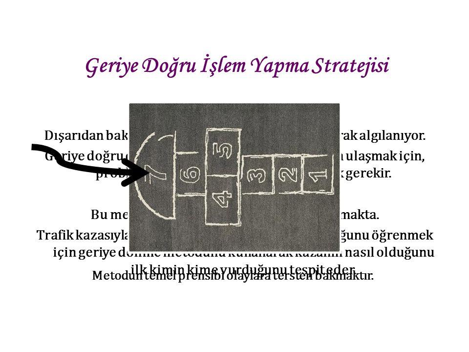 Geriye Doğru İşlem Yapma Stratejisi Dışarıdan bakıldığından bu metodu karmaşık olarak algılanıyor.