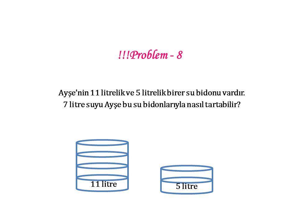 !!!Problem - 8 Ayşe'nin 11 litrelik ve 5 litrelik birer su bidonu vardır.