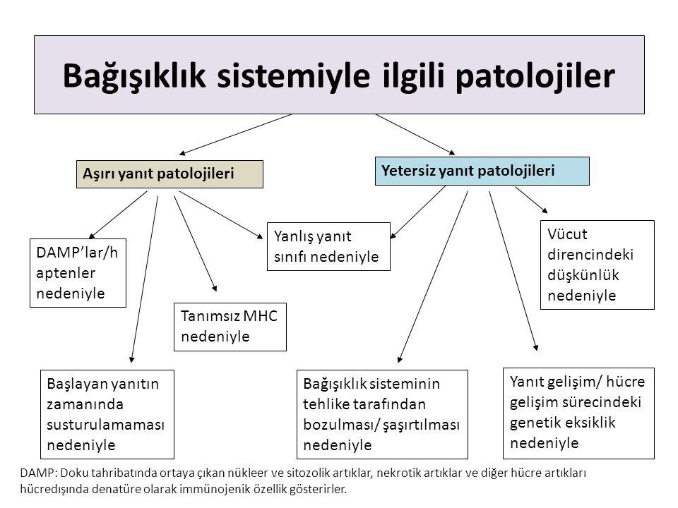 Bağışıklık sistemiyle ilgili patolojiler Aşırı yanıt patolojileri Yetersiz yanıt patolojileri Yanlış yanıt sınıfı nedeniyle Başlayan yanıtın zamanında susturulamaması nedeniyle DAMP'lar/h aptenler nedeniyle Yanıt gelişim/ hücre gelişim sürecindeki genetik eksiklik nedeniyle Bağışıklık sisteminin tehlike tarafından bozulması/ şaşırtılması nedeniyle Tanımsız MHC nedeniyle Vücut direncindeki düşkünlük nedeniyle DAMP: Doku tahribatında ortaya çıkan nükleer ve sitozolik artıklar, nekrotik artıklar ve diğer hücre artıkları hücredışında denatüre olarak immünojenik özellik gösterirler.