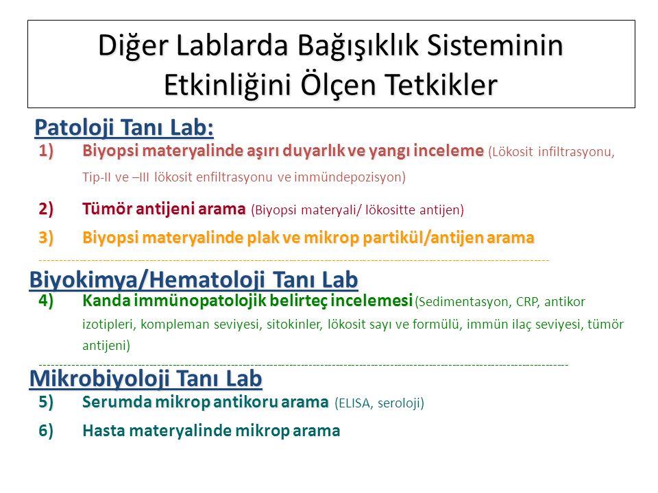 1)Biyopsi materyalinde aşırı duyarlık ve yangı inceleme 1)Biyopsi materyalinde aşırı duyarlık ve yangı inceleme (Lökosit infiltrasyonu, Tip-II ve –III lökosit enfiltrasyonu ve immündepozisyon) 2)Tümör antijeni arama 2)Tümör antijeni arama (Biyopsi materyali/ lökositte antijen) 3)Biyopsi materyalinde plak ve mikrop partikül/antijen arama ----------------------------------------------------------------------------------------------------------------------------------- 4)Kanda immünopatolojik belirteç incelemesi 4)Kanda immünopatolojik belirteç incelemesi (Sedimentasyon, CRP, antikor izotipleri, kompleman seviyesi, sitokinler, lökosit sayı ve formülü, immün ilaç seviyesi, tümör antijeni) ---------------------------------------------------------------------------------------------------------------------------------------- 5)Serumda mikrop antikoru arama 5)Serumda mikrop antikoru arama (ELISA, seroloji) 6)Hasta materyalinde mikrop arama Patoloji Tanı Lab: Biyokimya/Hematoloji Tanı Lab Mikrobiyoloji Tanı Lab Diğer Lablarda Bağışıklık Sisteminin Etkinliğini Ölçen Tetkikler