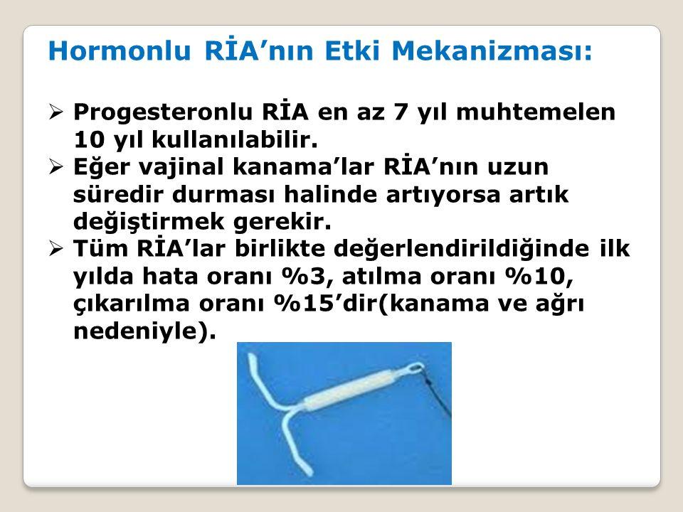 Hormonlu RİA'nın Etki Mekanizması:  Progesteronlu RİA en az 7 yıl muhtemelen 10 yıl kullanılabilir.  Eğer vajinal kanama'lar RİA'nın uzun süredir du