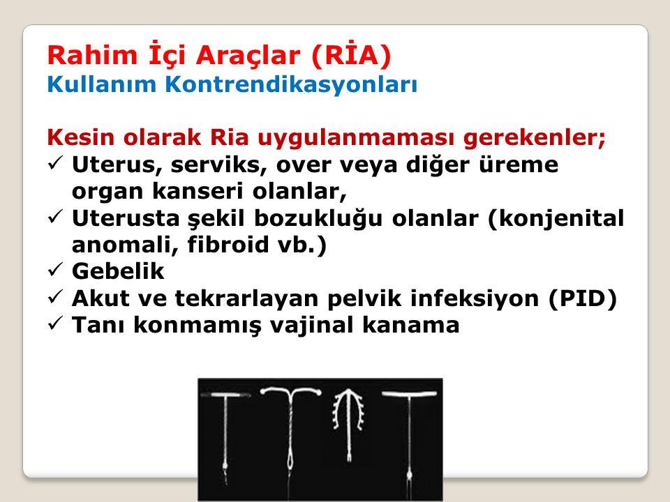 Rahim İçi Araçlar (RİA) Kullanım Kontrendikasyonları Kesin olarak Ria uygulanmaması gerekenler; Uterus, serviks, over veya diğer üreme organ kanseri o