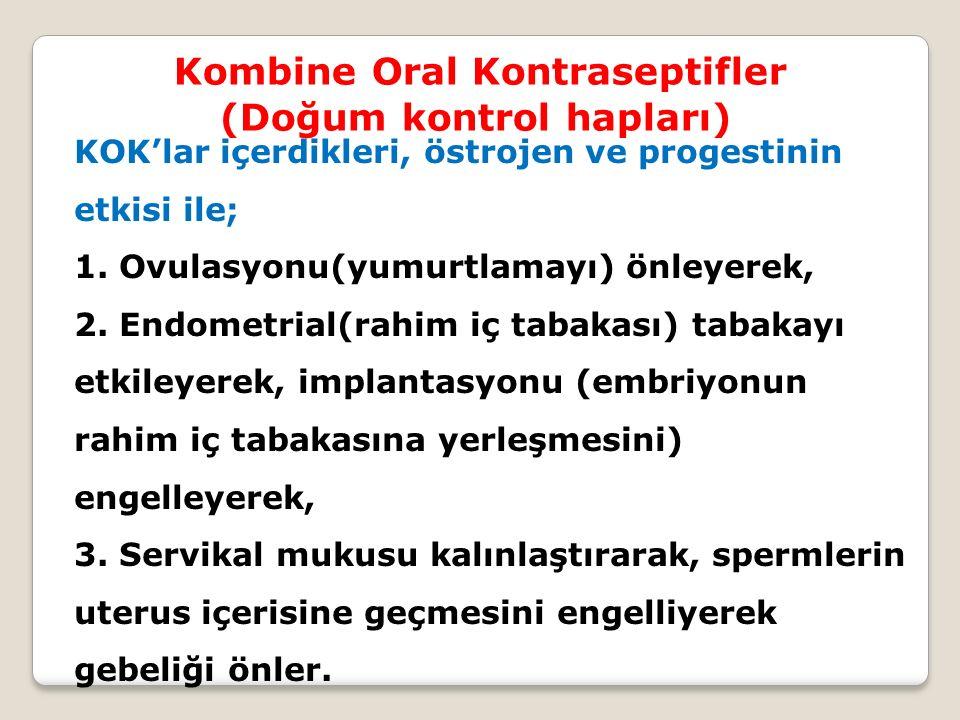 Kombine Oral Kontraseptifler (Doğum kontrol hapları) KOK'lar içerdikleri, östrojen ve progestinin etkisi ile; 1. Ovulasyonu(yumurtlamayı) önleyerek, 2