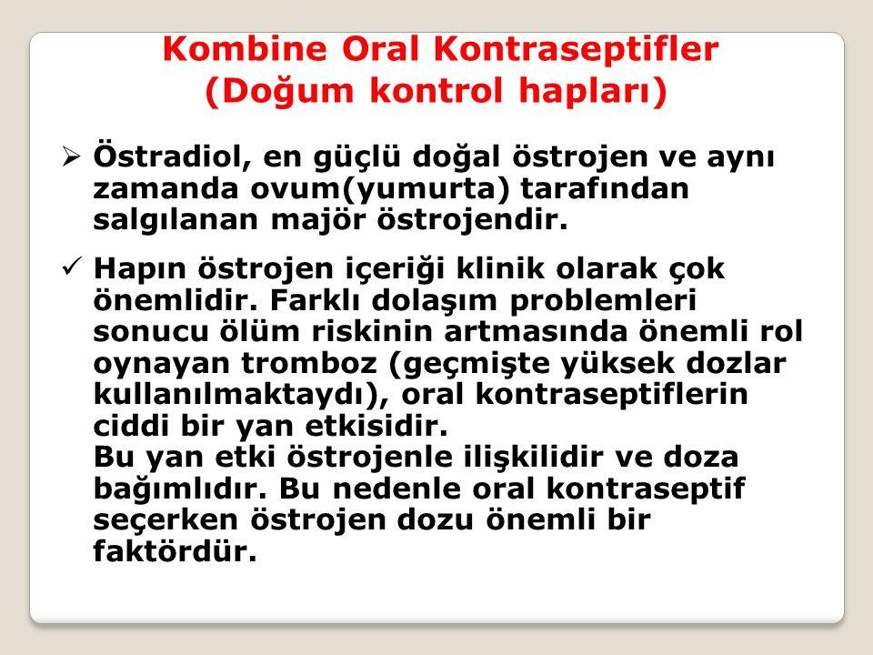 Kombine Oral Kontraseptifler (Doğum kontrol hapları)  Östradiol, en güçlü doğal östrojen ve aynı zamanda ovum(yumurta) tarafından salgılanan majör ös