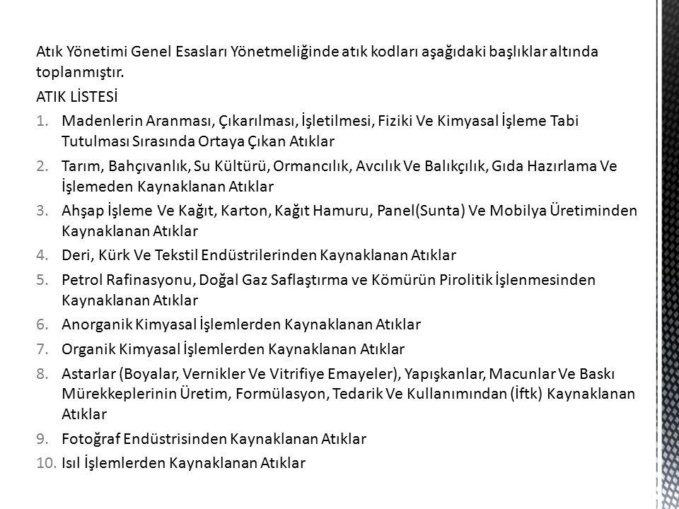 Atık Yönetimi Genel Esasları Yönetmeliğinde atık kodları aşağıdaki başlıklar altında toplanmıştır.